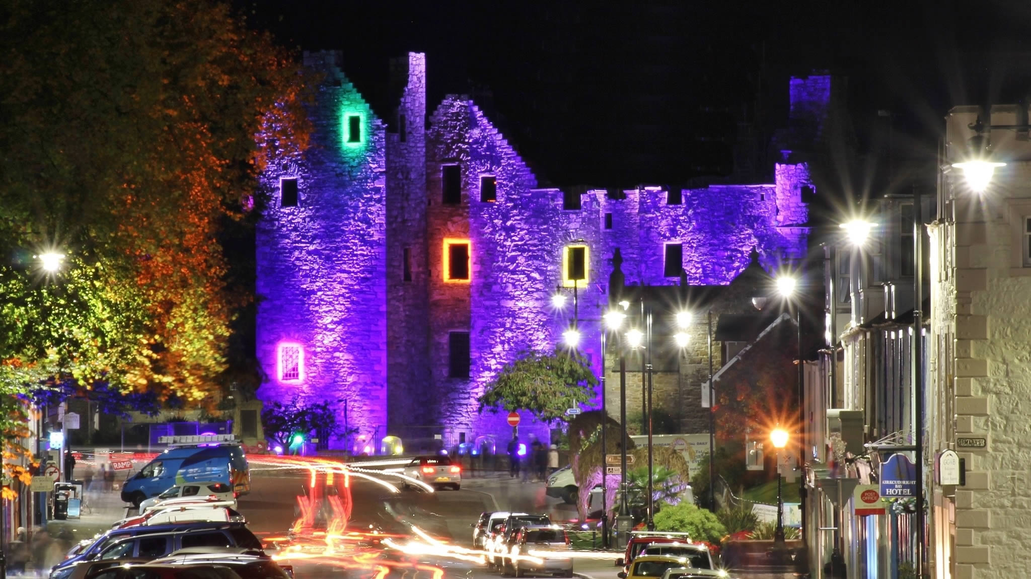 Kirkcudbright Festival of Light - a long exposure photo of MacLellans Castle by Barry Russell